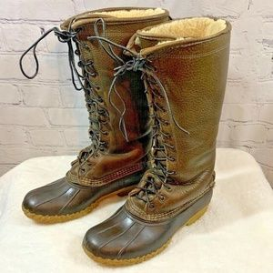 LL Bean Brown Leather Shearling Lined Boots 9 M